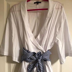 NWT Eloquii white wrap blouse w/ striped obi belt